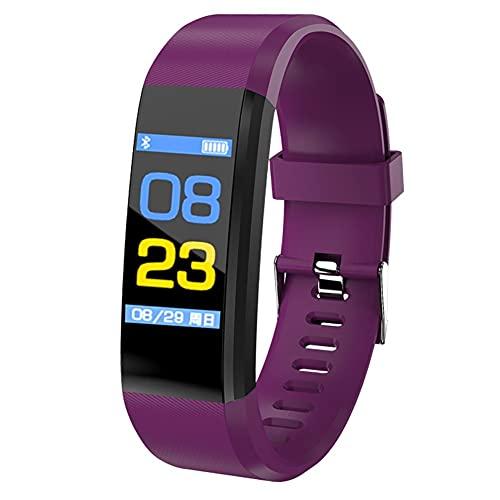 Reloj inteligente con pantalla a color, pulsera de fitness, correr, caminar, reloj de moda para niños, para hombres, mujeres, pulsera infantil (color morado)