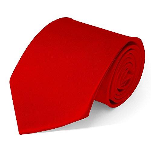 SoulCats Klassische Krawatte inkl. Anleitung breit viele Farben Satin Schlips Herren, Farbe:rot