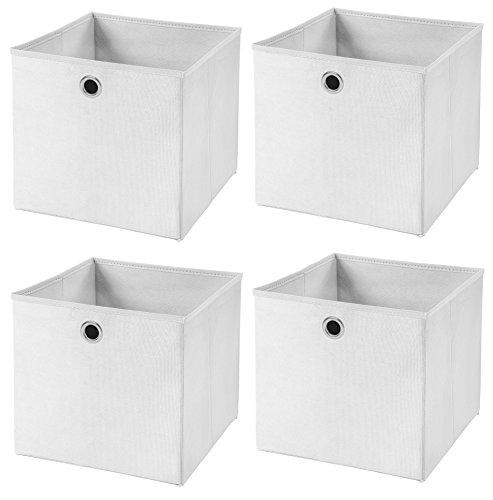 Stick&Shine 4X Aufbewahrungs Korb Weiß Faltbox 33 x 33 x 33 cm Regalkorb faltbar