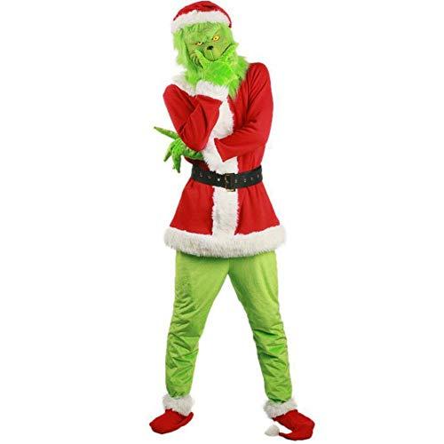 Weihnachtskostüm-Set, The Grinch Santa Deluxe Kostüm + Maske, Erwachsene Outfits Kleidung Anzug Verkleidung für Weihnachten Party plm46, grün, xl