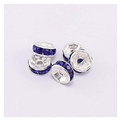 JIACHEN 50 cuentas espaciadoras sueltas para accesorios de joyería (color: azul, tamaño: 10 mm x 50 piezas)