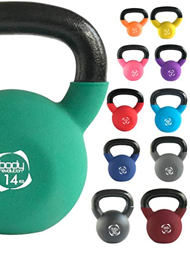 Body Revolution Neoprene Kettlebell – Rubber Coated Cast Iron Kettlebells (10kg)