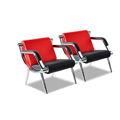 Bestmart INC PU Leather Office Reception Chair Executive Side Waiting Room Visitor Guest Sofa (RED, 2)