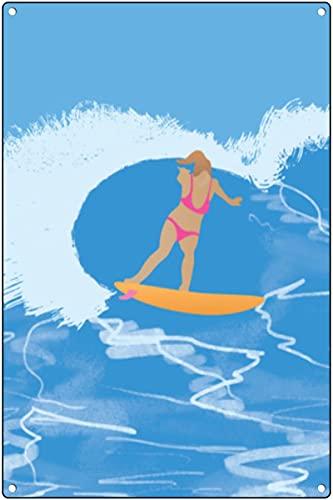 Surfarflicka hjärta spray kurva snurra affisch tryck/vardagsrum bad säng rum hem väggdekor affischer/blå havsvåg surfare surftryck metall tennskylt vintage retro väggdekor konst 30 x 46 cm (12 x 18 tum)
