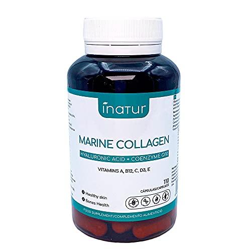 Colágeno Marino con Ácido Hialurónico + Co-Enzima Q10 – 110 cápsulas | Inatur | Vitaminas A B12 C D3 y E | Zinc | Suministro para 7 meses