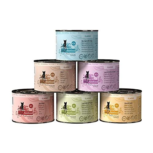 catz finefood Feinkost Katzenfutter nass Multipack 1, Sorten Mix-Paket 1 mit Geflügel, Kalb, Hering, Wild, Lachs, Lamm, Kaninchen, 6 x 200 g Dosen
