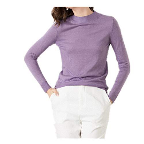 U/A Otoño e Invierno Suéter de las Mujeres Slim Fitting Pullover Medio Alto Cuello Redondo Suéter De Fondo De Las Mujeres De Manga Larga