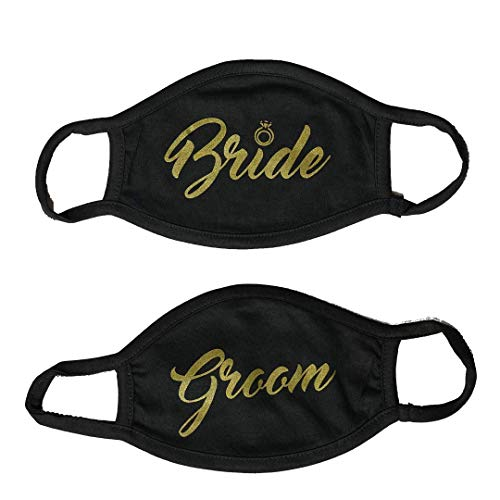 Brooklyn Vertical 2-Pack Cloth Fashion Face Mask Wedding Humor Bride Groom King Queen Mr. Mrs. Couples Pair Gift Silver Gold White Black (Bridegroom-ScriptGold, Black)
