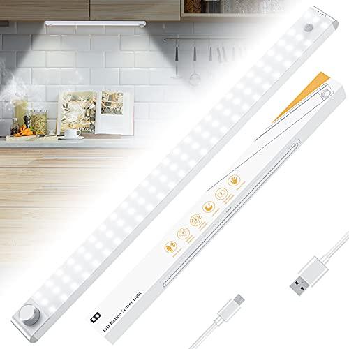 Racokky Luz Nocturna, Mejorar 78 LEDs Led Armario con Sensor de Movimiento Recargable 4 Modos con Cinta Adhesiva Magnética para Armario, Pasillo, Estantería, Escalera