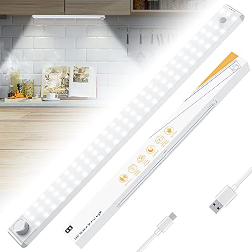 Racokky LED Sensor Licht 78 LED,Wiederaufladbar 3200mAH Akku Dimmbare Schrankbeleuchtung mit Bewegungsmelder,4 Modi LED Küchenleuchte,Weiches Licht für Küche,Kleiderschrank,Kofferraum,Treppe,Wohnmobil