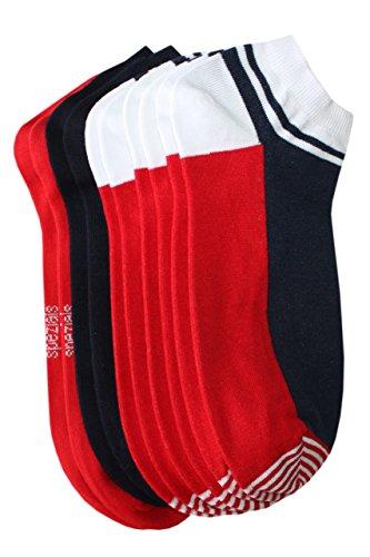 Weri Spezials Herren Sneakers 5-er Pack (3 Paar: Computermuster, 2 Paar: UNI) in rot, marine, weiss Gr. 47-48