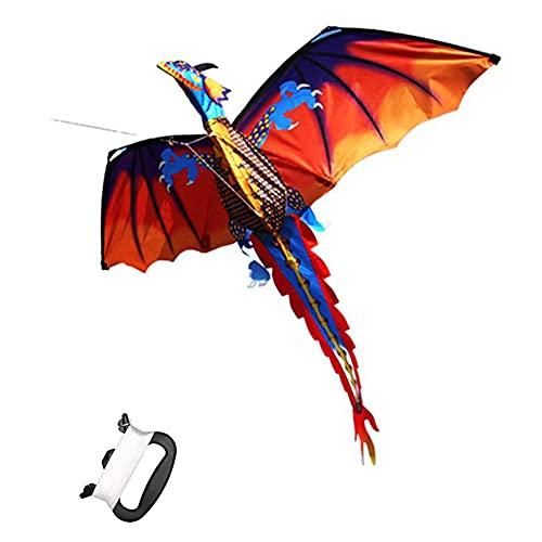 Kites 3D Dragon Kites Cometas para Adultos Juguete Volador Al Aire Libre para La Playa Viaje Parque Juegos Actividades 140x120cm