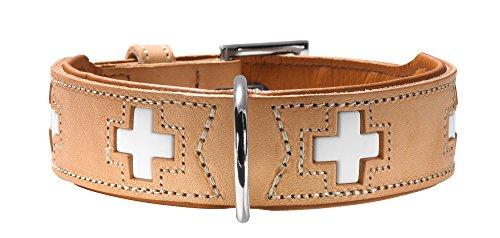 HUNTER SWISS Hundehalsband, Leder, hochwertig, schweizer Kreuz, 47 (S-M), natur/beige