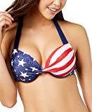 California Waves Juniors' Americana Push-Up Underwire Bikini Top (Medium, Multi)