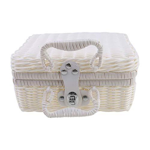 Lowral Vintage Rattan Woven Storage Case, Makeup Holder Suitcase Sundries Organizer Box