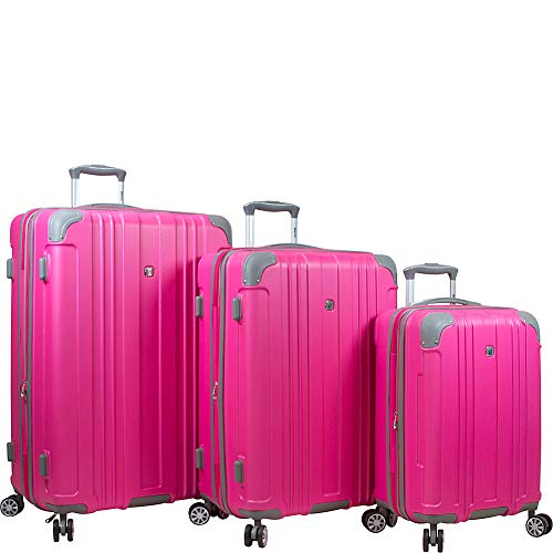 Dejuno Kingsley Abs 3-piece Hardside Spinner Luggage Set, Pink