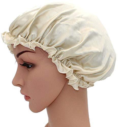 WJH Sleeping Naturel Soie de mûrier Bonnet de Nuit Bonnet Chapeau Head Couverture pour Beauty Hair avec Bande élastique pour Cheveux Perte de Sommeil Protection des Cheveux (2 pièces),Gris
