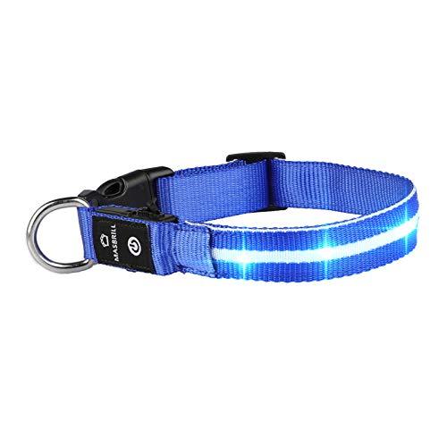 MASBRILL LED Leuchthalsband für Hunde Aufladbar Hundehalsband Leuchtend 100% Wasserdicht 3 Blinkende Lichter Verstellbare Haustier Sicherheit Halsband für Klein Mittlere Große Hunde, Blau L