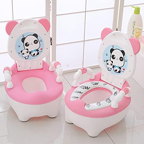 JINQIANSHANGMAO Sistemazione del Toilette del vasino del vasino del vasino Fumetto del Fumetto della Schienale, Vaso del Bambino Portatile Sgabelli (Color : Pink Plush Pad)