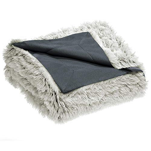 CelinaTex Shetland Kuscheldecke 150 x 200 cm Creme grau Polar Fleece Tagesdecke Langhaar Wendedecke Flokati Optik