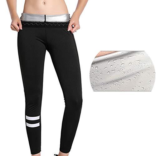 KUMADAI Pantalones de Sudoracion Mujer, Yoga Leggings Pantalón Sudoración Adelgazantes Pantalones Cintura Alta para Fitness Running,Negro,XXXL