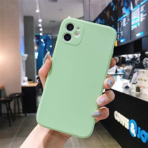 LIUYAWEI Carcasa de teléfono de Silicona Cuadrada Color Caramelo para iPhone 11 Pro MAX XS MAX XR X 6 6S 7 8 Plus SE 2020 Protección de cámara, Verde, para iPhone 7 Plus