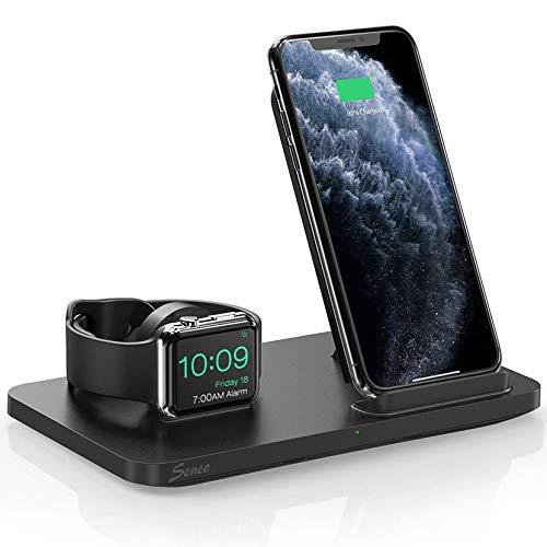 Seneo Dual 2 in 1 Kabellose Ladestation, iWatch Ladestation, Nachttisch für iWatch 6/SE/5/4/3/2, 7.5W Ladestation für iPhone 12/Pro Max/12 Mini/11/Pro Max/XR/XS/X/8 (Kein Adapter und iWatch Ladekabel)