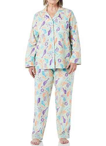 AmeriMark Women's Flannel Pajama Set – 100% Cotton Pants and Long Sleeve PJ Top Mint Multi MP