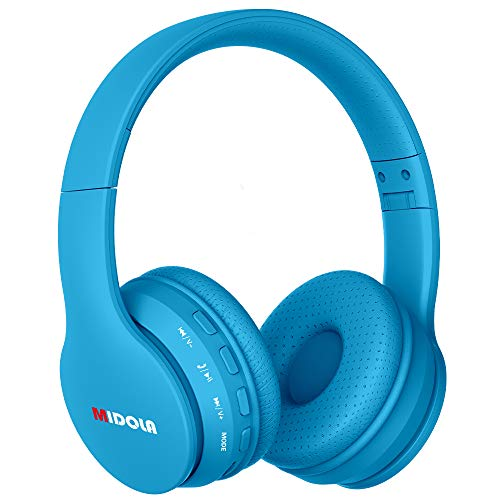 Midola Volume Limited 85dB /96dB Kids Headphone Bluetooth Wireless Over Ear Foldable Stereo Noise Protection Headset with AUX 3.5mm Cord Mic for Boys Girls Cellphone Pad Tablets TV PC Blue