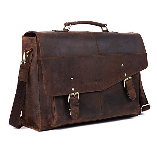 TUSC Hyperion Braun Leder Aktentasche für Laptops bis 17,3 Zoll, Konfigurierbare Laptopfach, Umhängetasche Schultertasche, Arbeitstasche, Bürotasche Messenger Bag für Laptop, Größe- 45x34x16 cm