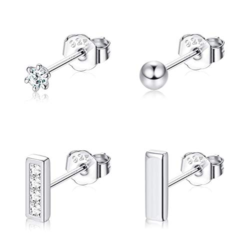 Finrezio 4 Pairs 2mm 925 Sterling Silver Tiny Stud Earrings for Women Mini Bar Ball CZ Stud Earrings Set Hypoallergenic Silver