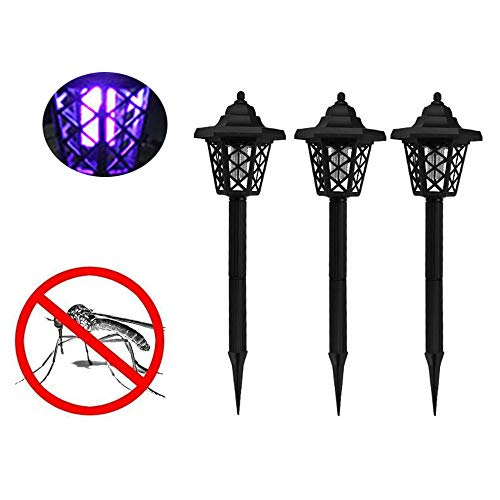 UNBER 3PACK Solar Powered Electric Bug Light Zapper- Outdoor Cordless Flying Insect Killer- Beautiful Garden Lamp- Portable LED Machine- Best Stinger for Mosquitoes/Moths/Flies & More