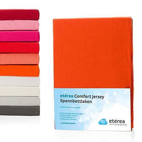 #2 Etérea Kinder Jersey Spannbettlaken, Spannbetttuch, Bettlaken, 60x120 - 70x140 cm, Orange