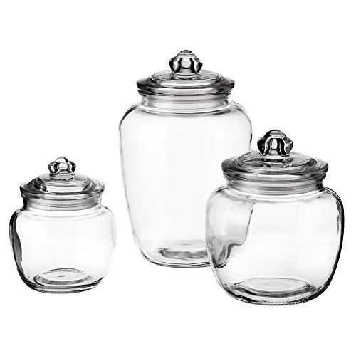 Set de 3 tarros de cristal para cocina transparentes clásicos