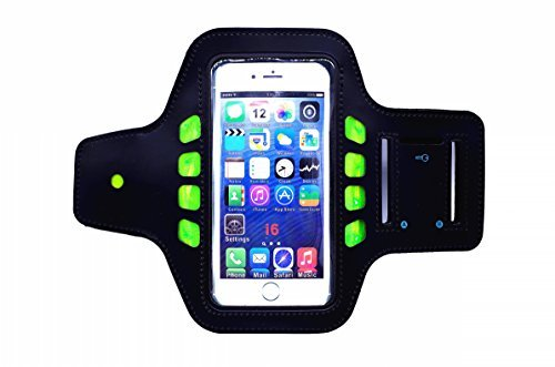 """L&X SPORTS Updated LED Cell Phone Sports Armband for Running [3 Modes LED] - One Size Fits Most Devices (4.7"""" or Smaller) - Lightweight,Sweat/Water Proof & Key Pocket,Room for Card/Cash, Adjustable"""