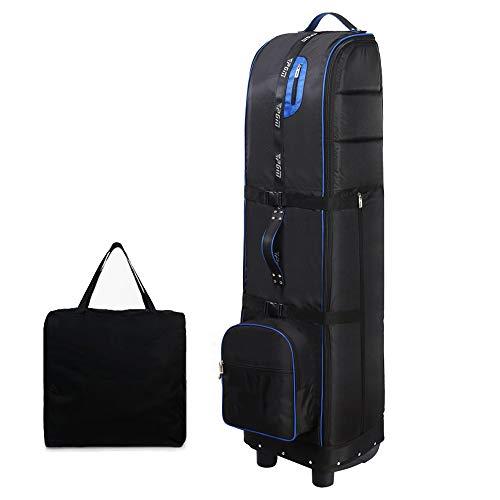 JZFUKSP Golfreisetasche - Tragbare, Faltbare Golftasche - Reisegolftasche für Flugzeuge mit Rollen und staubdichter Aufbewahrungstasche, blau