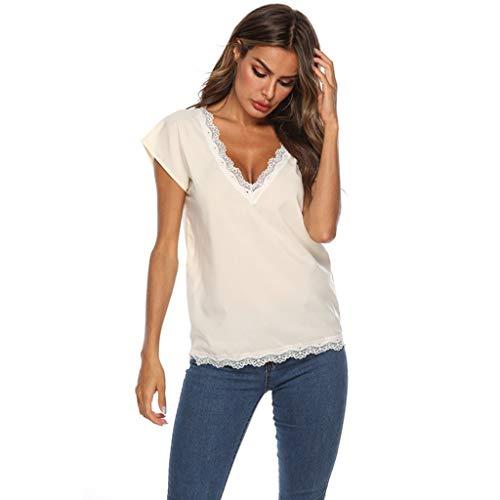 Zegeey Damen Oberteile T-Shirt Kurzarm Aus Festem Spitzen-Patchwork AushöHlen Bluse Top Sommer Shirt(Y2-Gelb,36 DE/S CN)