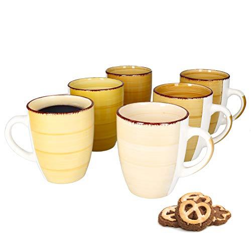 MamboCat Yellow Baita 6-er Kaffee-Becher-Set gelb I Steingut-Tasse groß mit Strudel-Dekor - in tollen Gelbtönen I große Jumbo-Tee-Tasse - Tea & Coffee Mug I 300 ml Kaffee-Tassen-Set groß 6 Stück