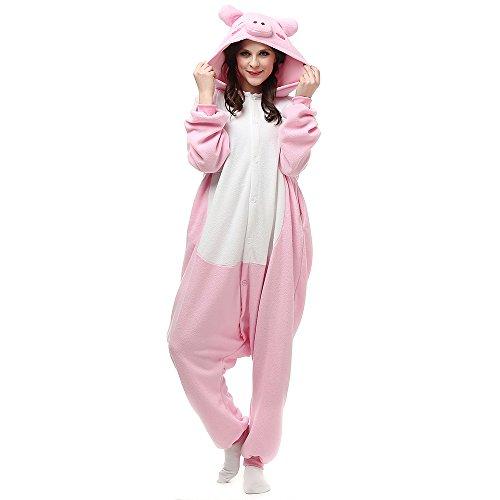 Pijamas de Animales Disfraces Onesie Animal para Adultos Mono Cosplay Pijama Cerdo Invierno Unisex Mujeres y Hombres,LTY53,S