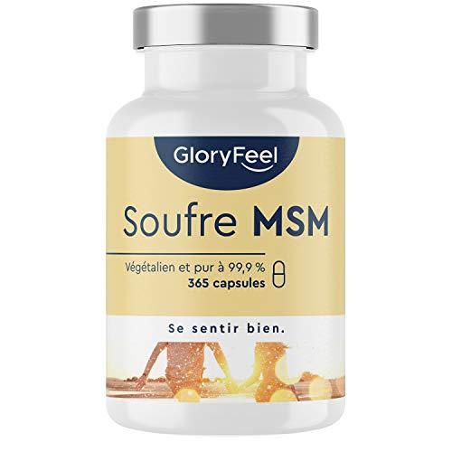 MSM Pur 99,9% Méthylsulfonylméthane - Soufre Organique 1600mg d'MSM - 365 Capsules Végétaliennes (6 Mois) - pour la Santé des Os et des Articulations + Anti-Inflammatoire Musculaire