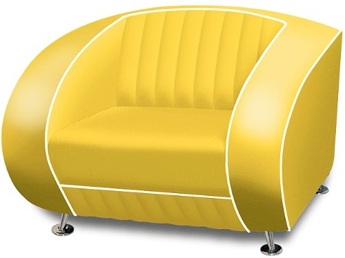 Amerikanischer Sessel Retro Style Möbel usa 50er Sofa Designer Sessel Gastronomie Möbel (Yellow)