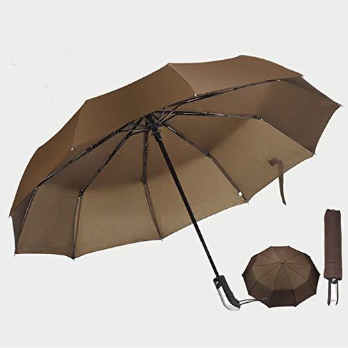 NJSDDB paraplu automatische paraplu vrouwen versterkte paraplu 3 opvouwbare mannelijke vrouwelijke regen parasol Paraplu regen vrouwen Winddicht bedrijf Paraplu China koffie