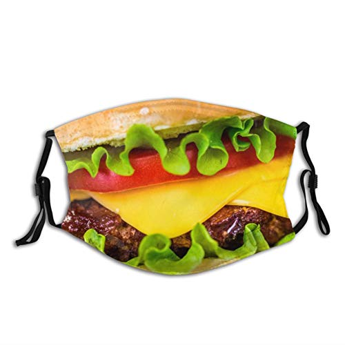 Beef Hamburger Face Mask Balaclava With Filters,Adjustable Mask Bandanas Reusable For Men & Women