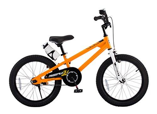 RoyalBaby Kids Bike Boys Girls Freestyle BMX Bicycle With Kickstand Gifts for Children Bikes 18 Inch Orange