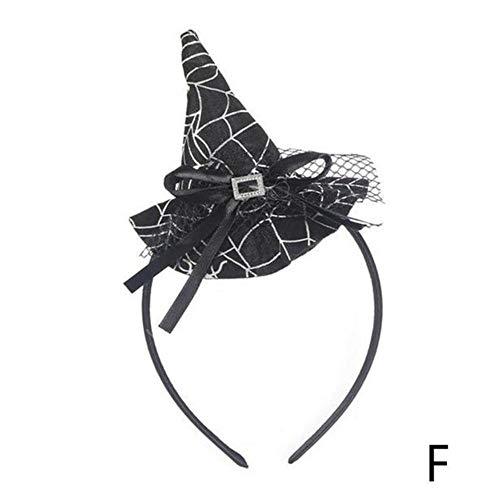 Mingi Halloween Spider Stirnband Kopfschnalle Weihnachtshexenhut Stirnband Spider Web Cap Kopfschmuck Halloween Requisiten Hexenkopf Hoop Requisiten, F, Größe passt für alle