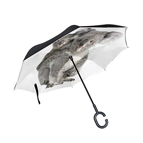 Orediy - Paraguas invertidas de doble capa con ositos de koala para el interior del coche, paraguas grande anti rayos UV, resistente al viento, lluvia y sol de viaje