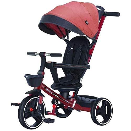 AZZ Triciclo Niños triciclos Cochecito de bebé Plegable, Triciclo portátiles for niños, Juguetes de pasajeros de Salida con toldo Regalo del niño Opciones (Color : Red)