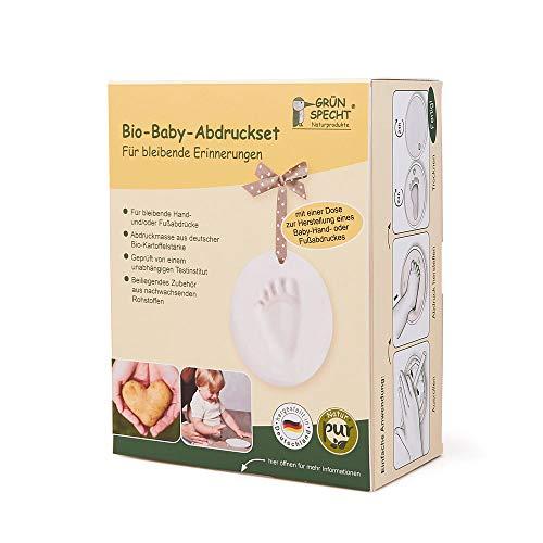 Grünspecht 678-00 Bio-Baby-Abdruckset, 1 Dose, Herstellung eines Baby-Hand- oder Fußabdrucks inklusive Zubehör