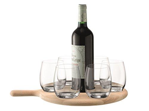 LSA peddel water/wijn serveer set & L43 cm peddelvorm van eikenhout