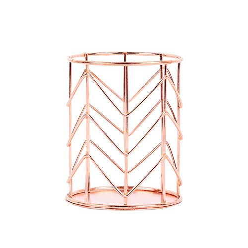 Ruiting Aushöhlen Stifthalter Rose Gold Zylinder Bleistift Pot Home Office Tisch Make-up Organizer Eisen Bleistifthalter